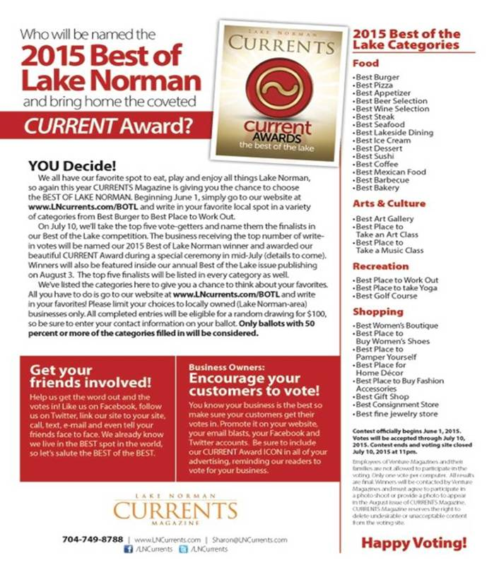 Lake Norman Currents Awards